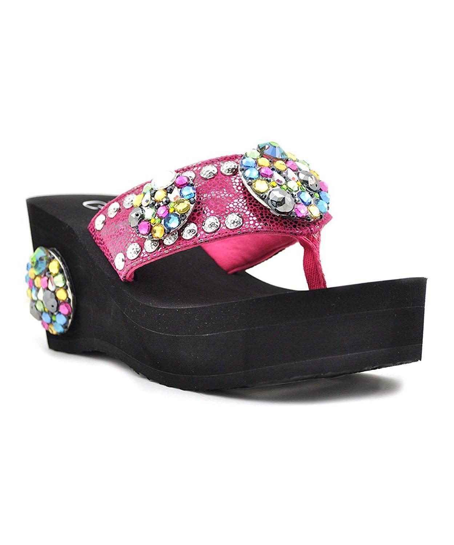 Grazie Women's Carousel Platform Sandal B071G6L172 5.5 B(M) US|Fuchsia