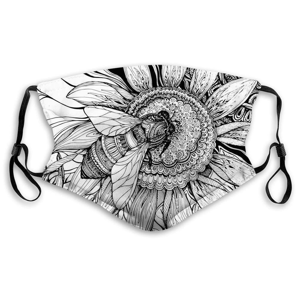 Comfortable Printed mask,Nature, Bee on a Flower Honey Pollen Floral Mother Earth Phase Wildlife Digital Print,Black and White,Windproof Facial decorations for Adults Size:M