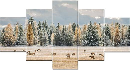Elk Deer At Snowy Winter Forest 1 Piece Canvas Print Wall Art
