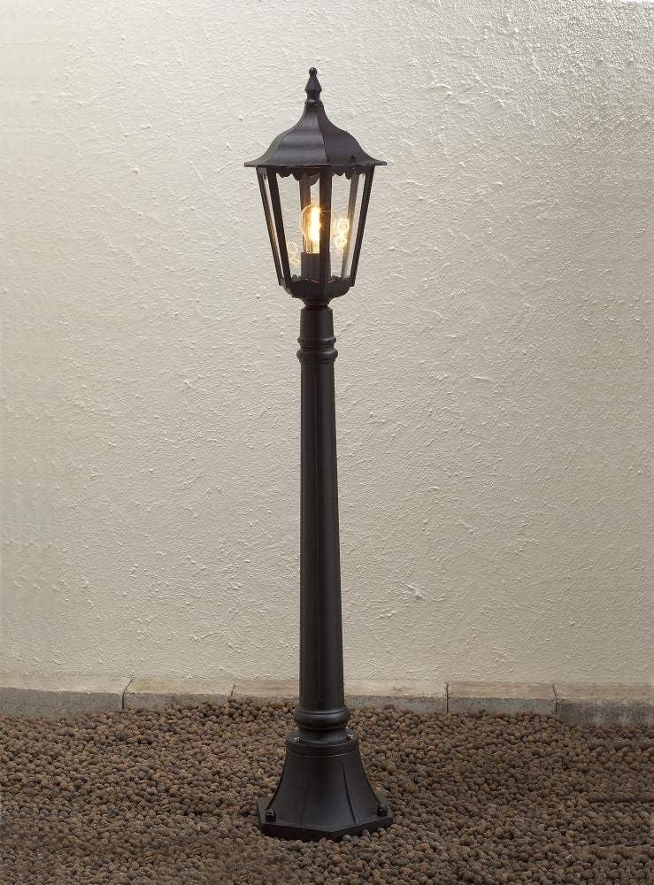 Konstsmide Firenze 7215-750 - Farola (23,5 x 23,5 x 120 cm, 1 Bombilla de 100 W, IP43, Aluminio Lacado, Acabado Mate), Color Negro: Amazon.es: Hogar