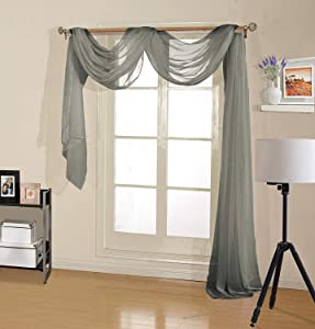 """Decotex Premium Quality Sheer Voile Scarf Valance for, Gray, Size 54"""" X 216"""""""