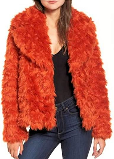 KENDALL KYLIE Womens Winter Warm Faux Fur Coat Orange S