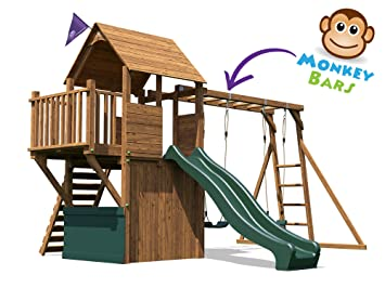Wooden Playhouse Climbing Frame Childrens Outdoor Play Tower Monkey Bar Swing Set Club House Dunster House Balconyfort Searcher