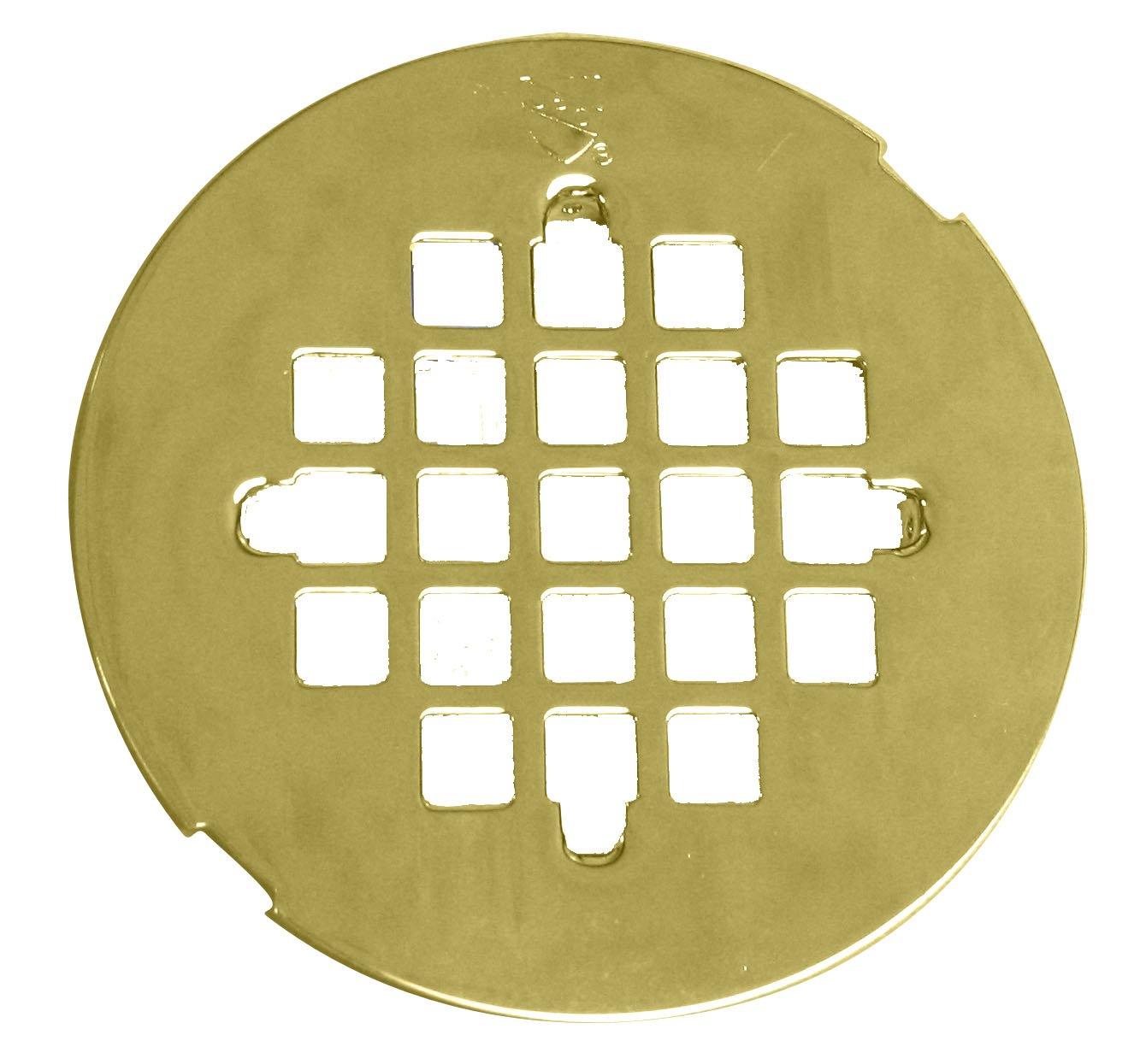 Westbrass 4-1/4'' OD Casper Brass Snap-In Shower Strainer Grid, Polished Brass, D319-01
