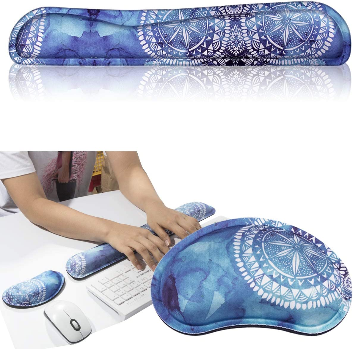 Ergonomic Support Laptop Lightweight for Comfortably Typing Pain Relif and Repair FF1 Memory Foam Mouse Pad Keyboard Wrist Rest Support Durable for Office Premium Quality Computer
