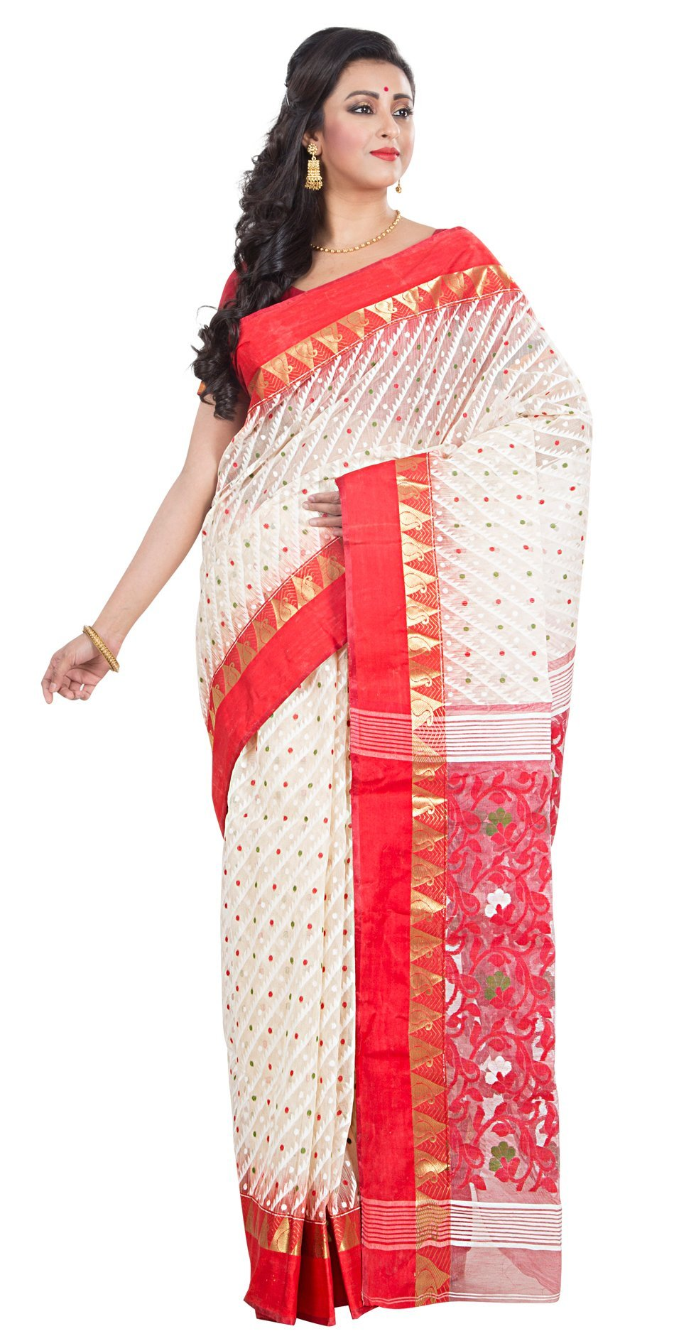 RLB Fashion Women's Cotton Silk Handloom Dhakai Jamdani Saree Free Size Red & White
