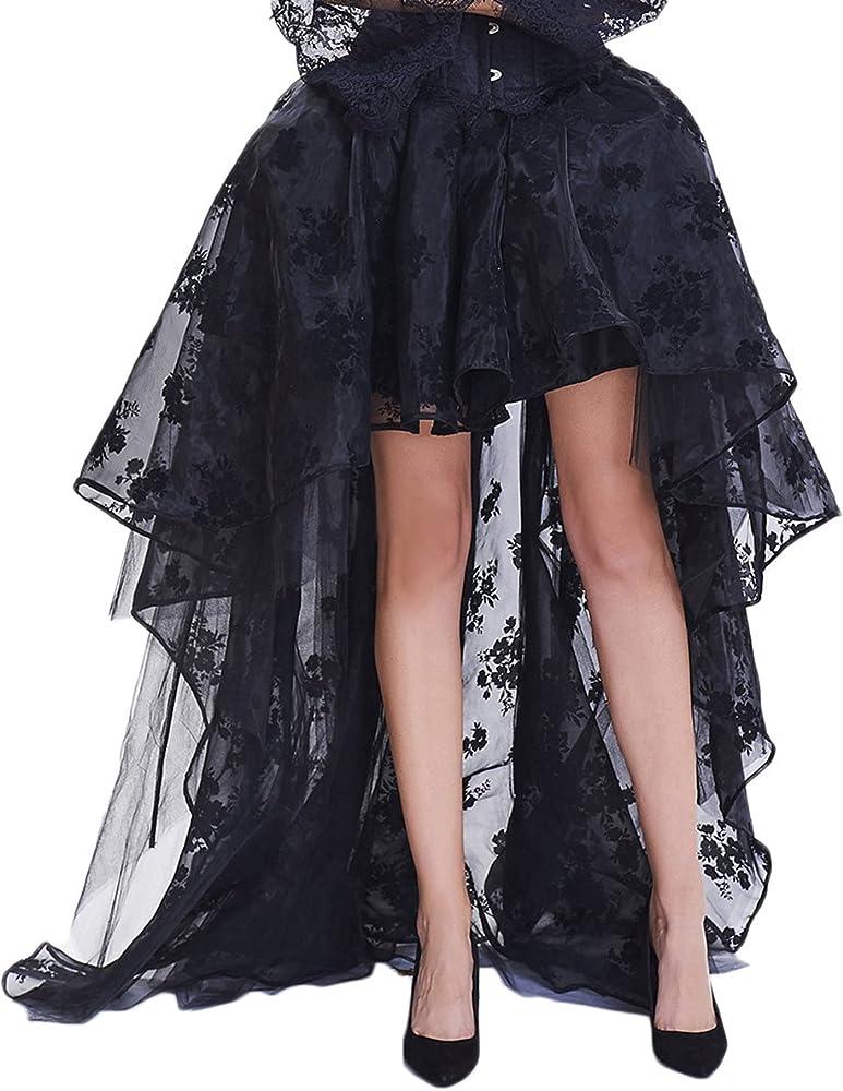 EMILYLE Mujer Steampunk Gótico Negro Alto Vestido Ajustado Falda ...