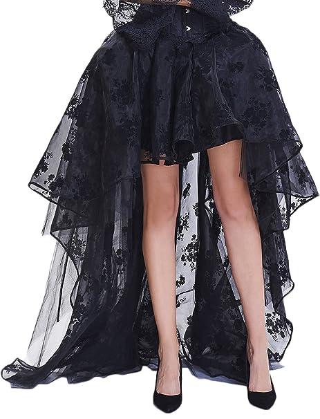 EmilyLe Mujer Steampunk Gótico Negro Alto Vestido Ajustado Falda del Partido del Corsé de Encaje (