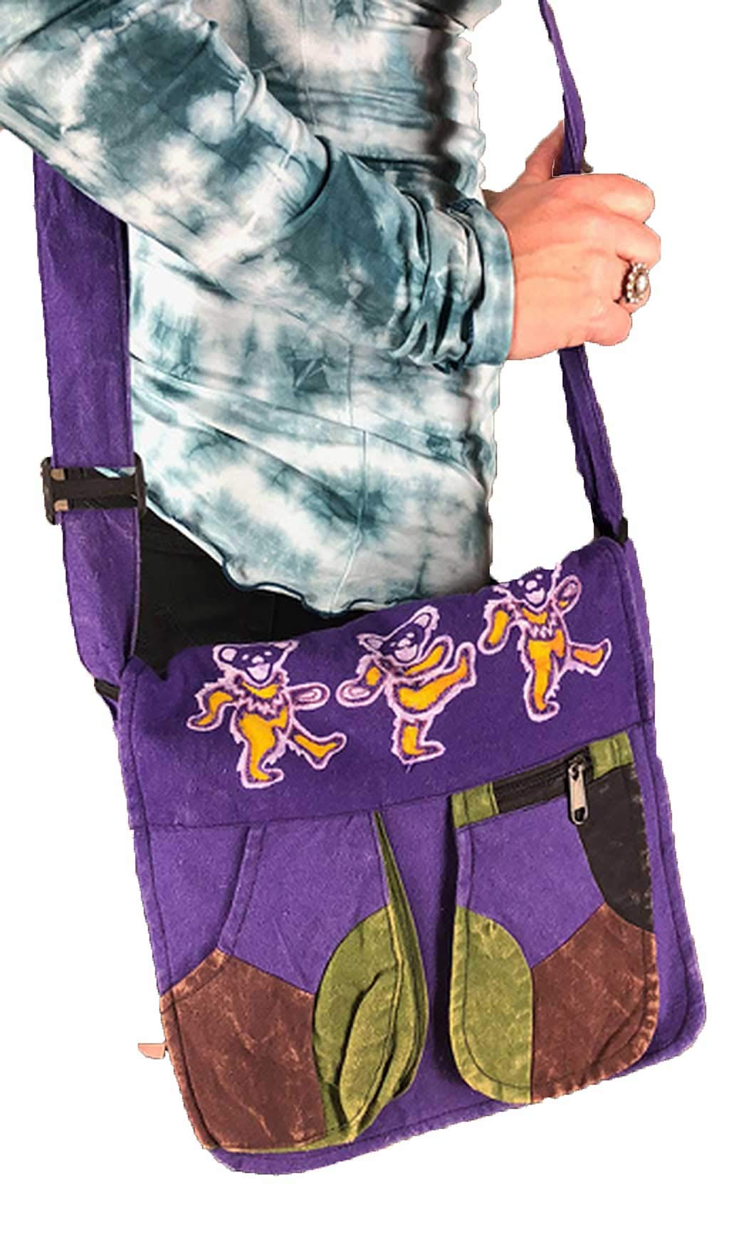 Aiko Bear Patchwork Shoulder Bag | Jayli | Grateful Dead | GD-B109-PUR