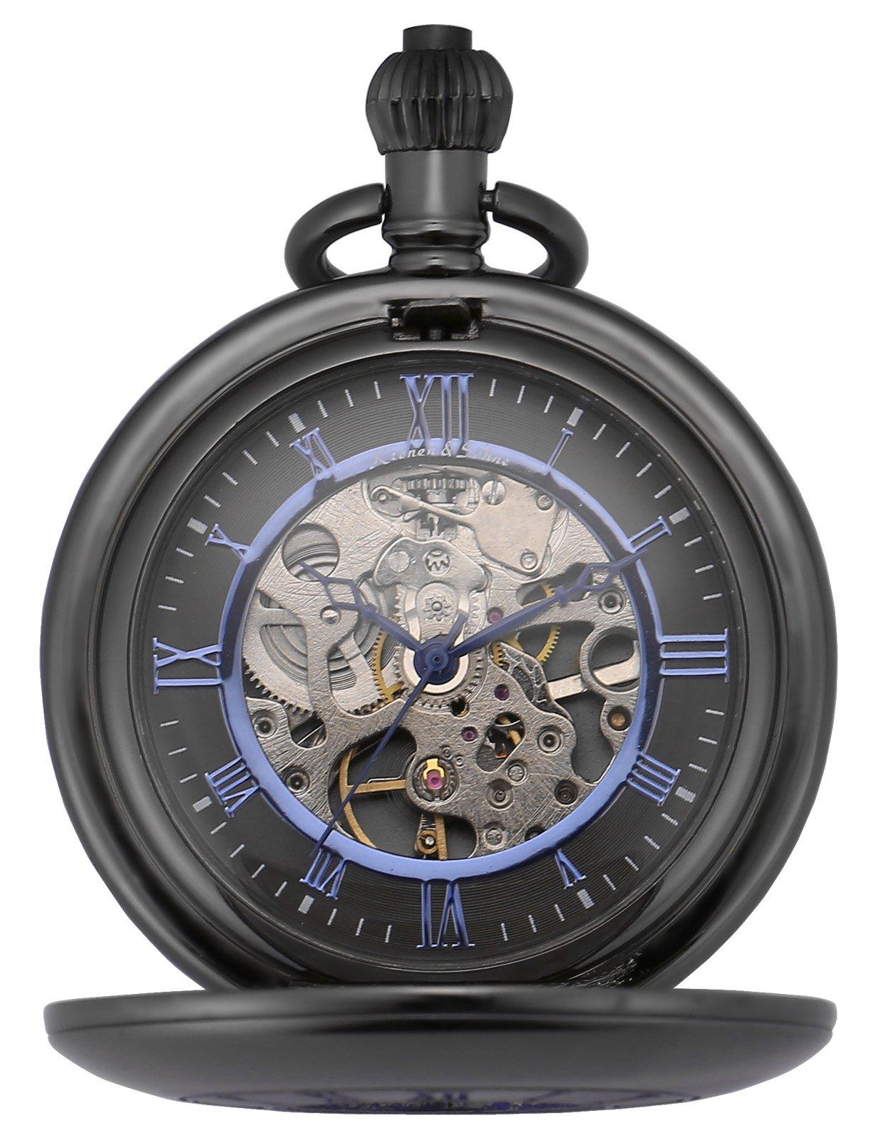 KS Half Hunter Mechanical Hand Wind Classic Pocket Watch Black Alloy Case KSP090