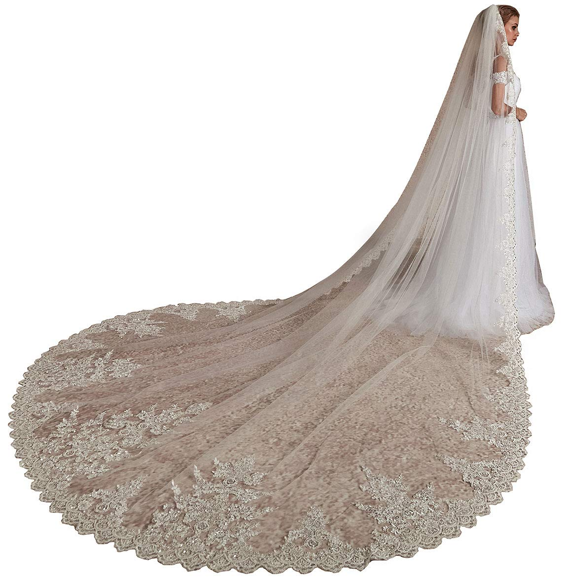 EllieHouse Women's Long Sequin Lace Ivory Wedding Bridal Veil With Metal Comb L72IV
