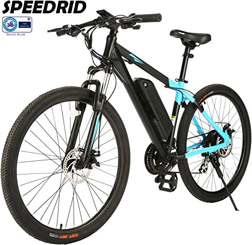 Speedrid 26 27.5 Electric Bike for Adults, Electric Mountain Bike Commute Ebike with 350 250W Motor, Professional 21 24 Speed Transmission Gears
