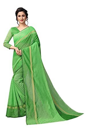22adce819 New Designer Saree Shop Women s Cotton Saree with Blouse Piece (Green)