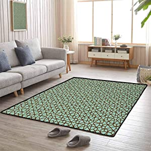Decor Bedroom Rugs, Contemporary Luxury Large Rug Soft Comfy Area Rugs for New Home,Easy Care, Moroccan | Arabic Design Geometry Ornament Classic Ancient Art Vacation Tourism Gateway - 4'x5'