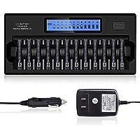 Tenberly Cargador de batería inteligente de 12 bahías para cargador de baterías recargables AA/AAA Ni-MH/NiCd (puede…