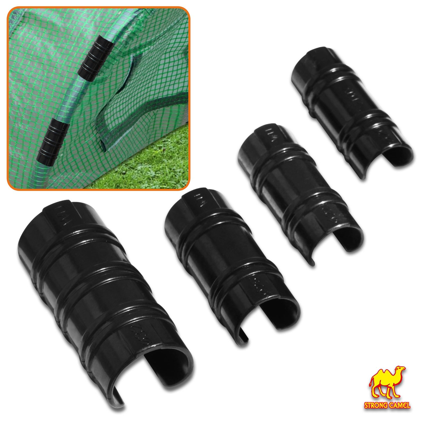 Strong Camel ABS Snap Clamp 1 inch x 2-1/2 Wide for 1 inch Pipe to Secure Plastic/ Fabric Attach Greenhouse Row Cover Shade (10pcs)