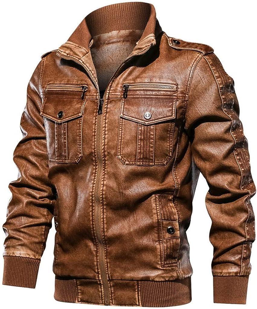 Vintage Cazadora de Hombre Abrigo de Stand Collar Slim de Invierno Cardigan Caliente Outwear Otoño Invierno Espesar Cuero de la Chaqueta de béisbol Abrigo Imitación de Cuero Hombre con Cremallera