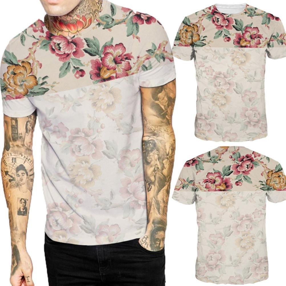 Cinnamou Camiseta de Manga Corta Estampada Flores Hombres Cuello Redondo Blusas y Tops: Amazon.es: Ropa y accesorios