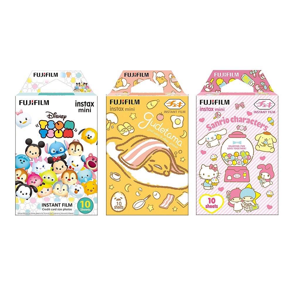 Fujifilm Instax Mini Instant Camera Film 3-Pack Bundle Set , Tsumutsumu , Gudetama , Sanrio 5 Popular Characters [Limited Edition] -Japan Import