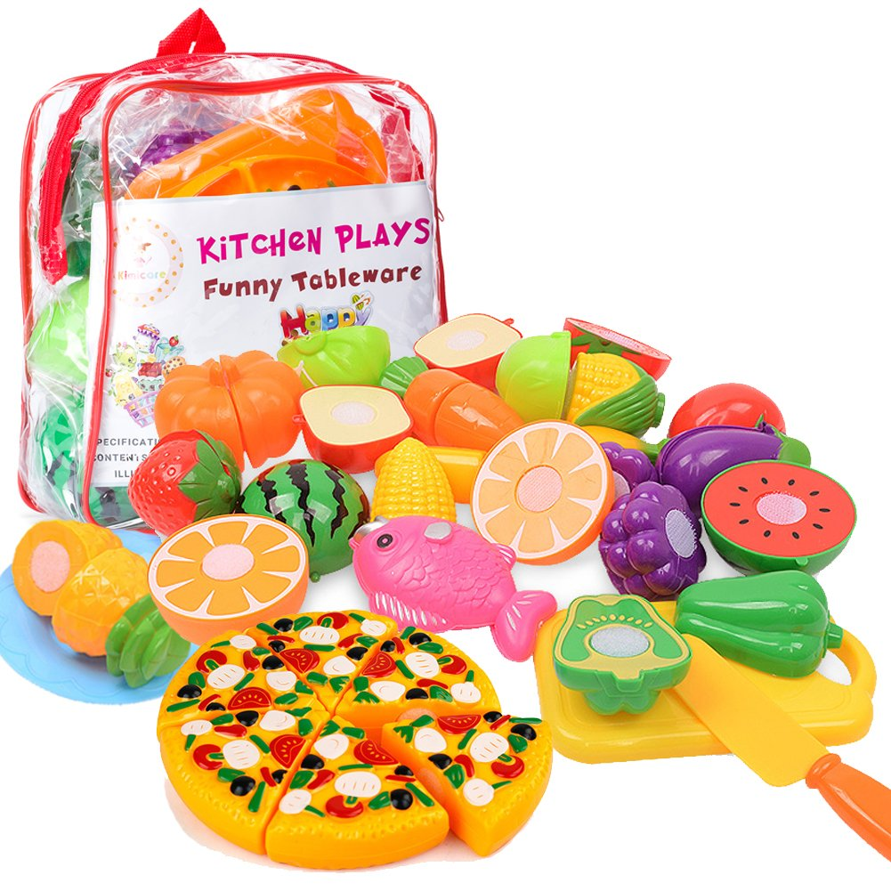 Kimicare Kitchen Toys Fun Cutting Fruits Vegetables Pretend Food Playset for Children Girls Boys Educational Early Age Basic Skills Development 24pcs Set, Multicolors by Kimicare (Image #1)