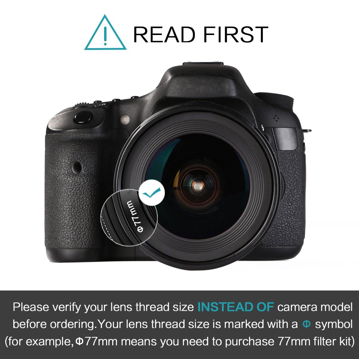 K/&F Concept 37mm ND Filter Variable Fader NDX Neutral Density Adjustable ND2 to ND400 Lens Filter Kit Cleaning Cloth for Cameras Lens