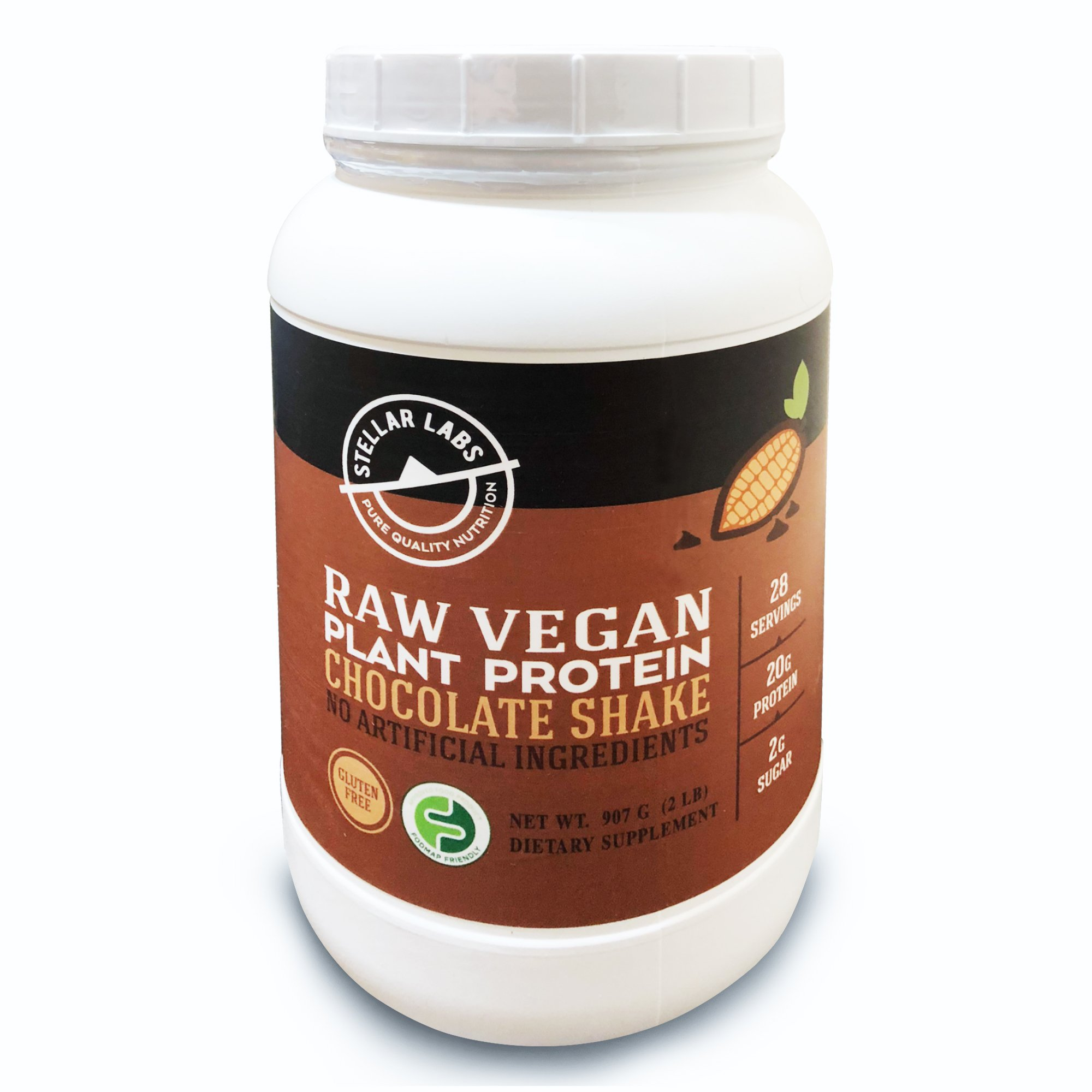 Stellar Labs Chocolate Raw Vegan Plant Protein Powder Meal Replacement -Delicious & Creamy Chocolate Vegan Protein Shake- Non-GMO, Certified Vegan, High Protein, 30 Servings by Stellar Labs
