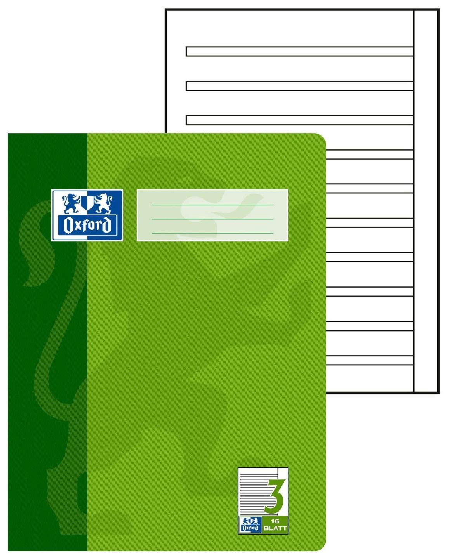 confezione da 15 quaderni da 16 fogli bianchi ciascuno Quaderno scuola in formato A4 Oxford lineatura 20