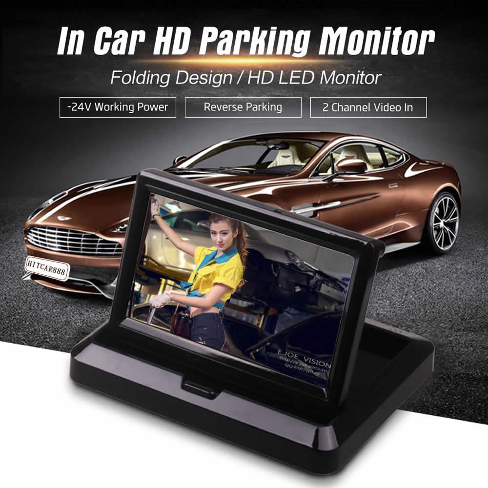 by HitCar Car Vehicle Small Mini Color Digital Flip Down Folding Foldable Rear View Reverse Parking Kits Combo HD TFT-LCD Monitor Backup Camera 5 Inch Monitor