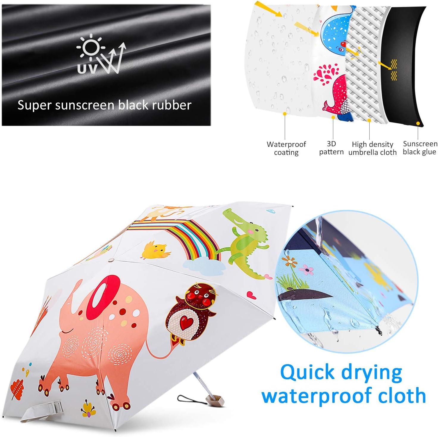 DORRISO Enfants Pliant Parapluie Mini Original Mignonne Animal /étudiant Voyage Loisir Filles Gar/çons Les Enfants Parapluie Bleu Poisson