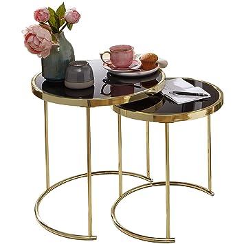 Wohnling Design Satztisch Cora Schwarz Gold Beistelltisch