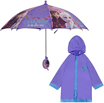 Disney Frozen Ii Elsa and Anna Slicker and Umbrella Rainwear Set, Little Girls