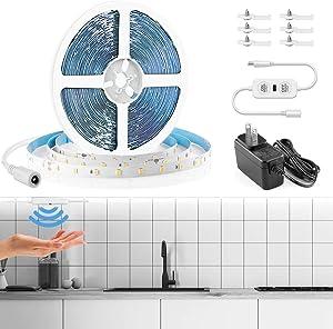 20ft / 6M Velted White LED Strip Lights Motion Sensor, LED Rope Lights Under Cabinet Hand Wave Lighting 6000K Bright Daylight, 360 LEDs, 1800lm, for Home Kitchen Bedroom with 12V Adapter