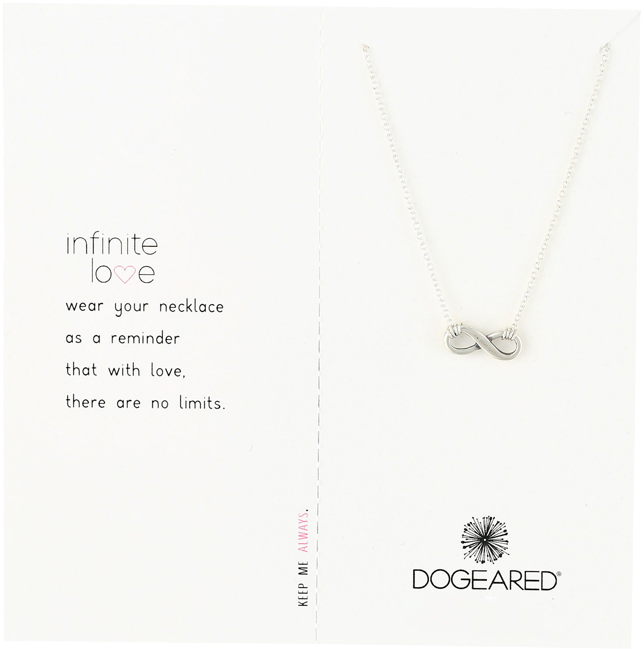 Dogeared Infinite Love Sterling Silver Infinity Charm Necklace, 16''+ 2'' Extender