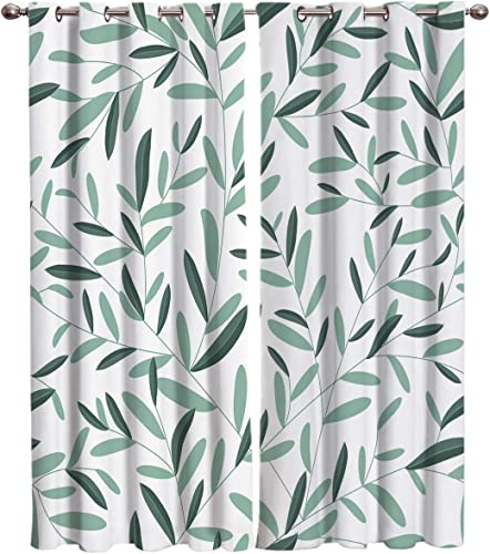 Room Darkening Window Curtain Panels Spring Natural Simple Floral Plant Curtain Treatment Thermal Insulated Blackout Grommet Drapes Curtain