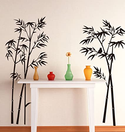 Decals Design Beautiful Bamboo Tree Black Wall Sticker (PVC Vinyl, 90 cm x 60 cm, Black)