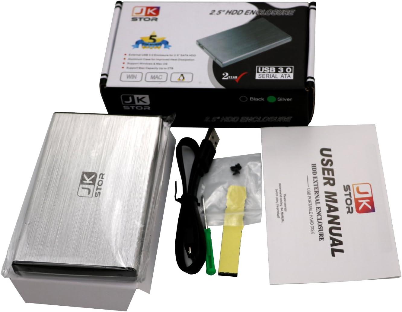 JKStor - Silver 2 Years Warranty :External USB 3.0 Portable Enclosure for 2.5 SATA External Hard Drive