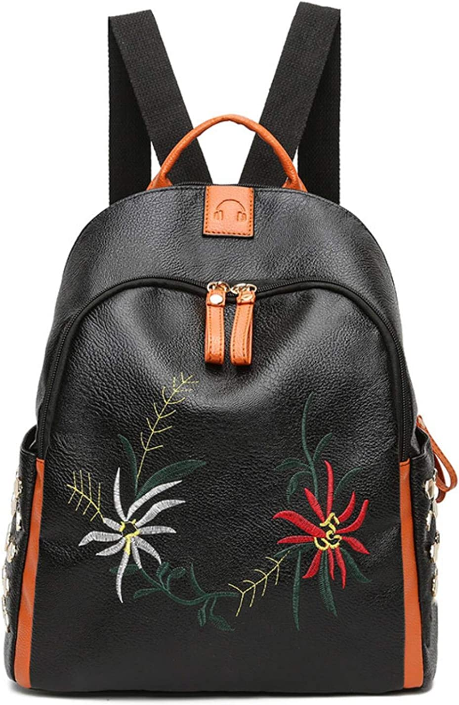 Womens embroidered studded leather backpack