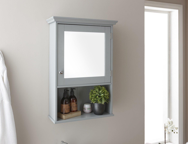 Home Source Colonial Bathroom Cupboard Storage Unit 2 Door Bath Cupboard 3 Shelf - Grey G-COL2DRGRY 2Dr Cupboard