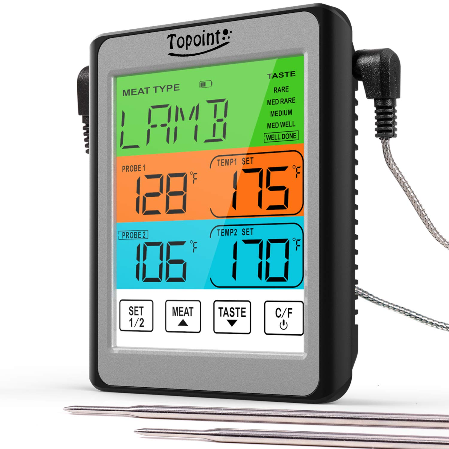 Dual Probe Digital Meat Thermometer,TOPOINT Touchscreen Food Thermometer for Food Cooking Kitchen Oven Smoker BBQ Grill
