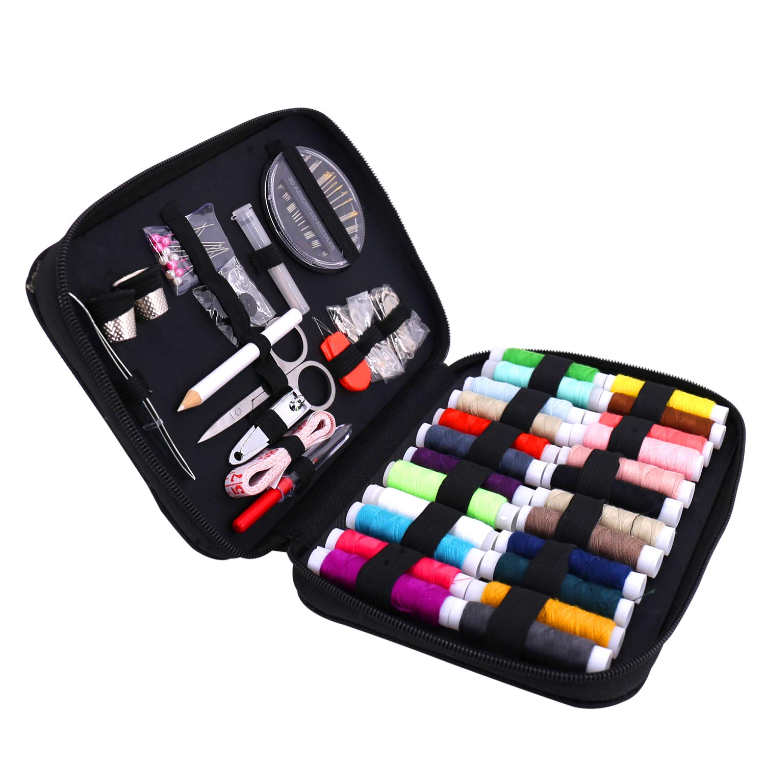 Sewing Kit,Over 90 pcs Premium Sewing Supplies for Home/Travel/DIY/Beginners/Emergency Include Scissors + Thimble + Thread + Needles + Tape Measure (Sewing kit) imoocare
