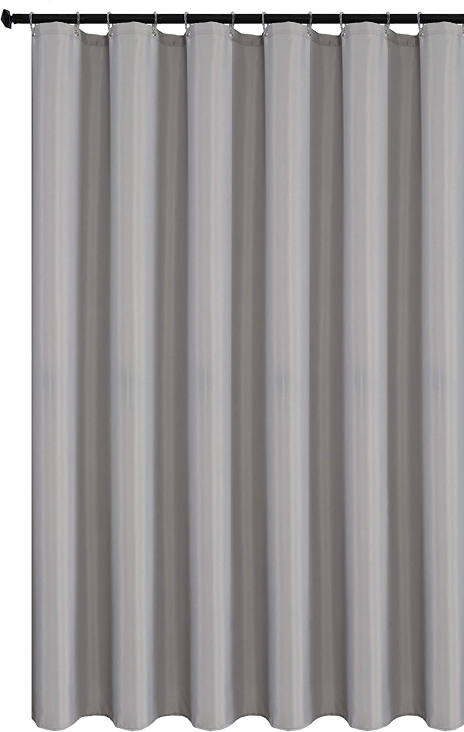 Biscaynebay Hotel Quality Fabric Shower Curtain Liners, Water Resistant Bathroom Curtains, Rust Resistant Grommets Top Weighted Bottom Machine Washable, Silver Grey 72 Inch by 72 Inch