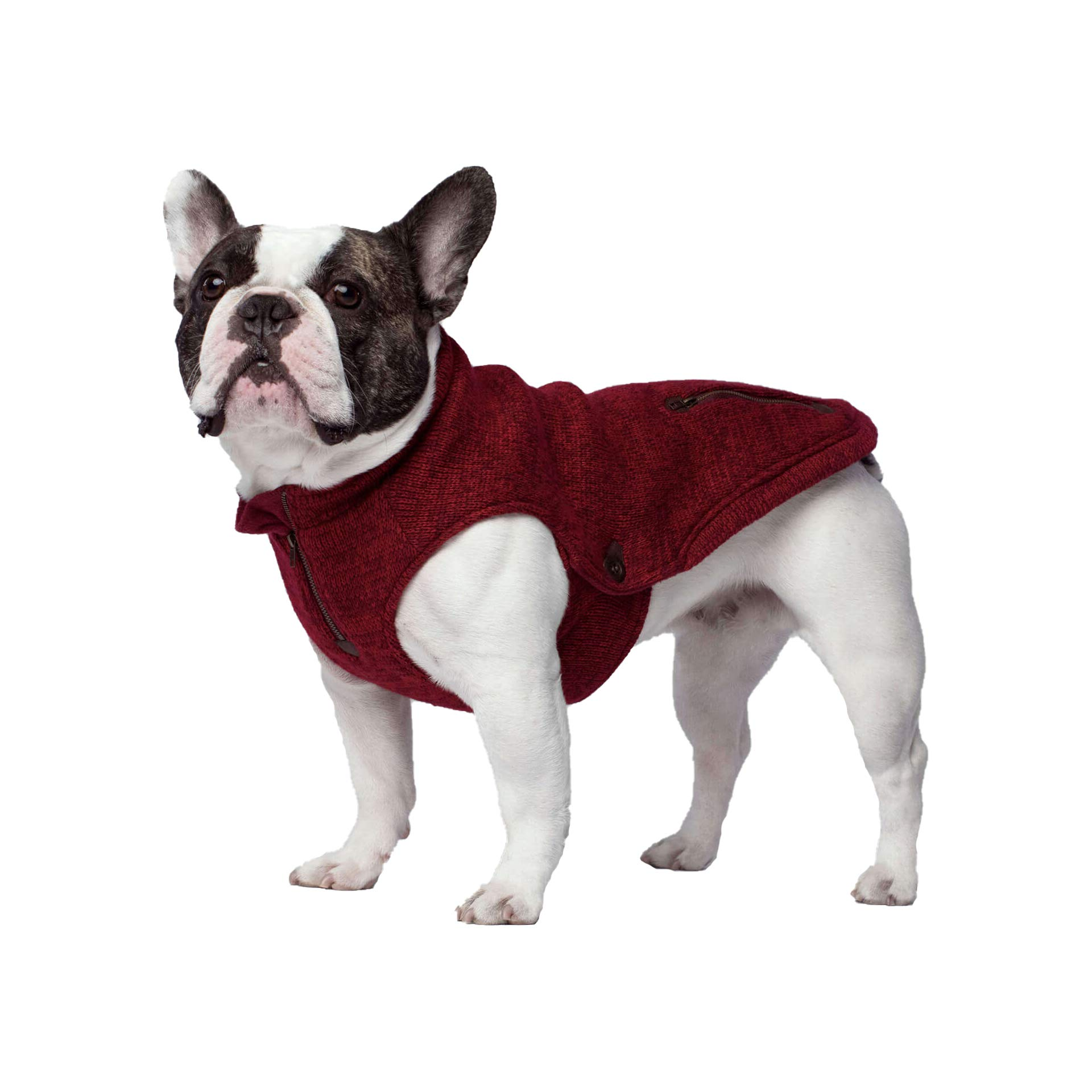 Canada Pooch Northern Knit Fleece-Lined Dog Sweater, Maroon, Size 14