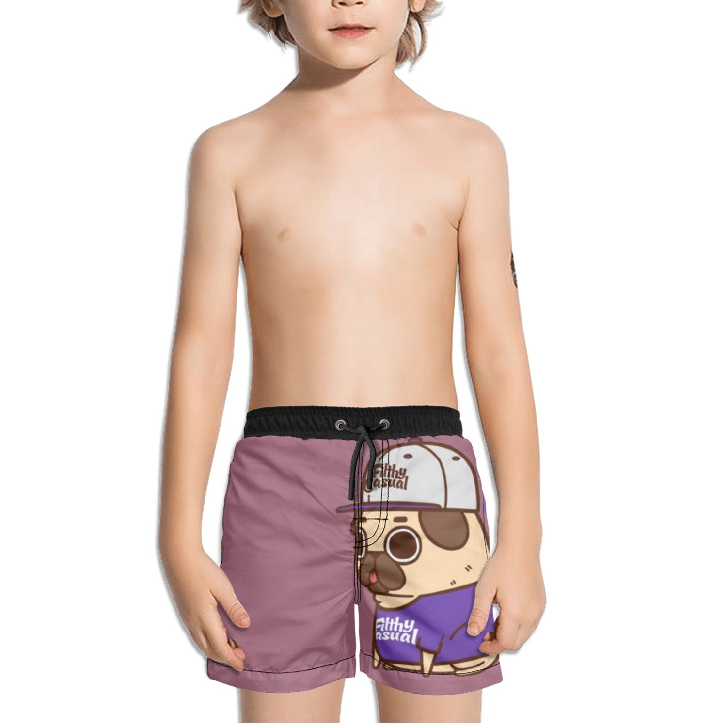 Juliuse Marthar Pinterest Pug Dog Purple Swim Trunks Quick Dry Beach Board Shorts for Boys