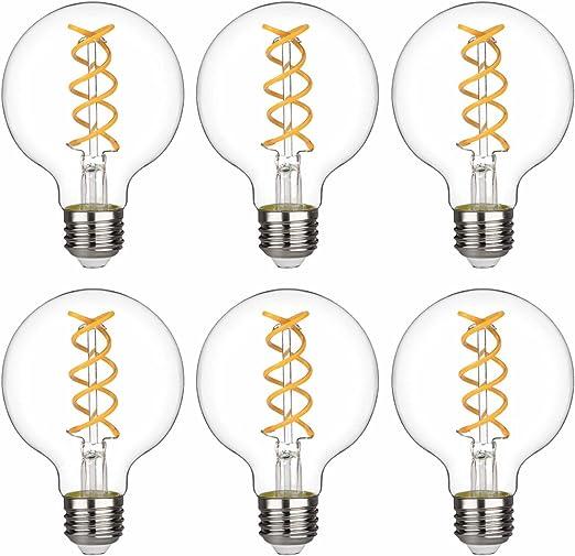G80 G25 Vintage Globe Led Edison Bulbs Warm 2700k Antique Led Filament Light Bulbs Dimmable 80w Equivalent 800lm E26 Medium Base Clear Glass G80 8w 2700k 6 Pack Amazon Com