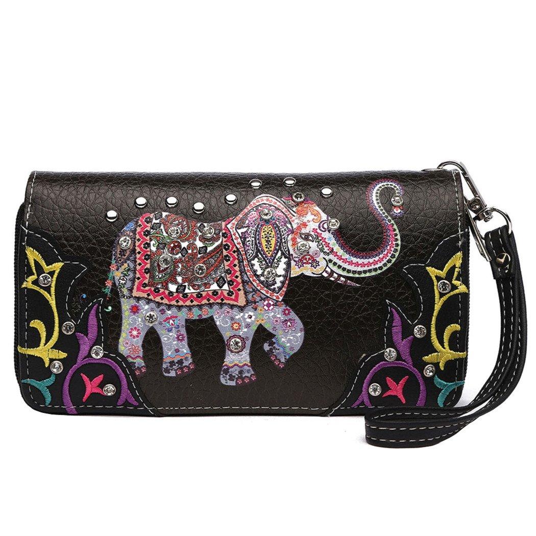 Elephant Floral Spring Rhinestone Studded Western Style Country Purse Wrist Strap Women Wristlets Wallet (Black)