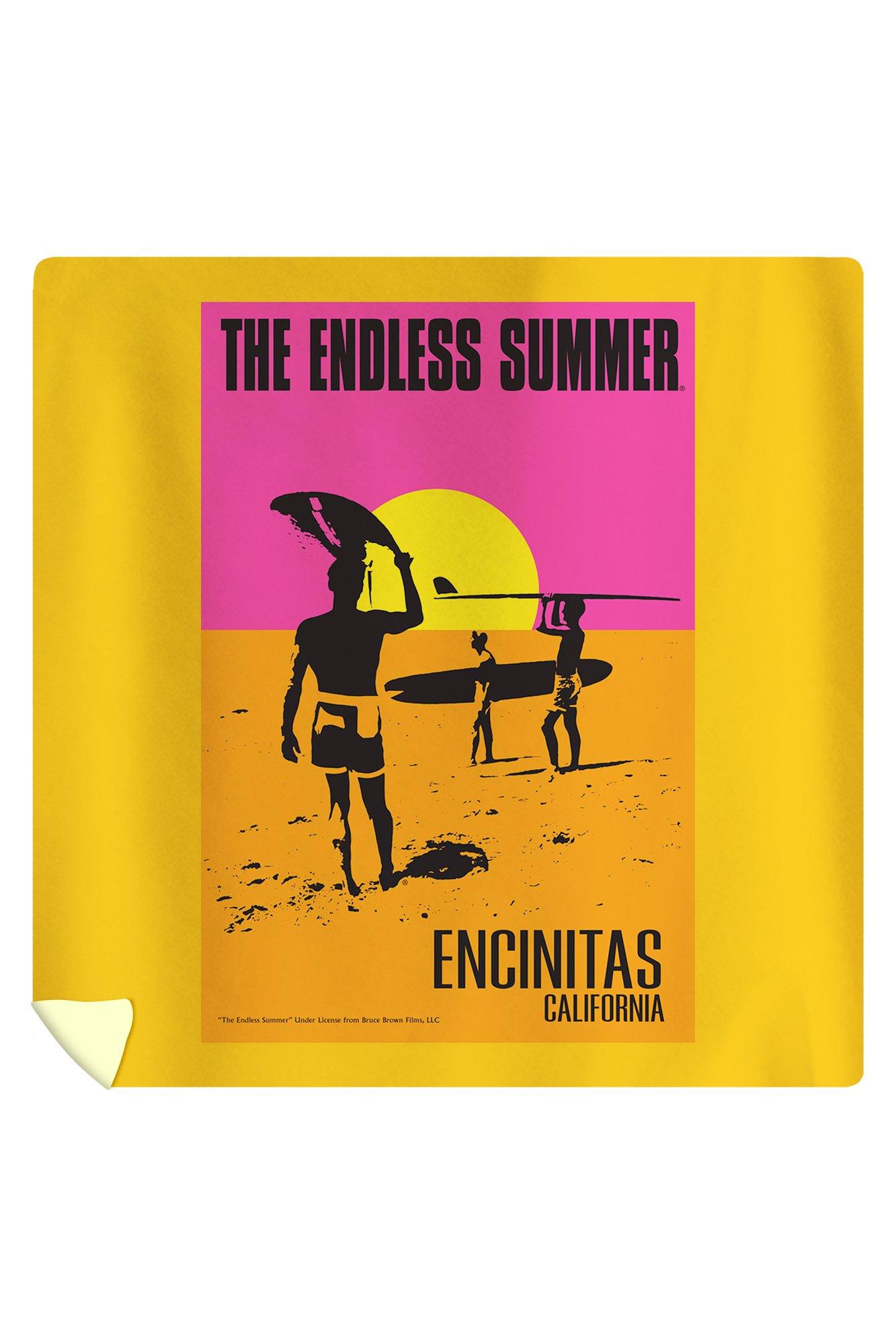 Encinitas, California - The Endless Summer - Original Movie Poster (88x88 Queen Microfiber Duvet Cover)