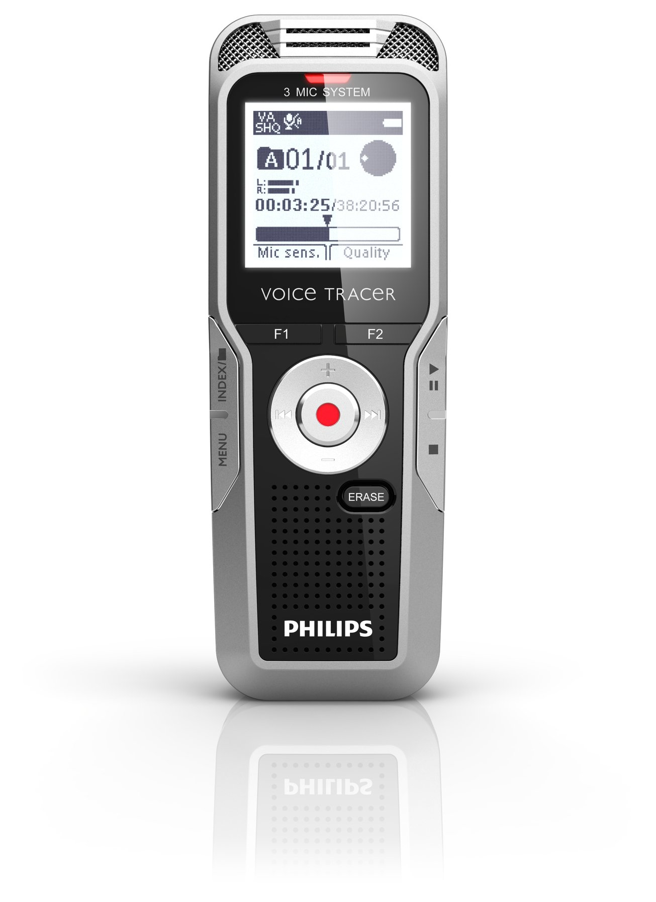 Philips DVT5500/00 4 GB Digital Voice Tracer with 3 Built-In Microphones and Remote Voice Recorder