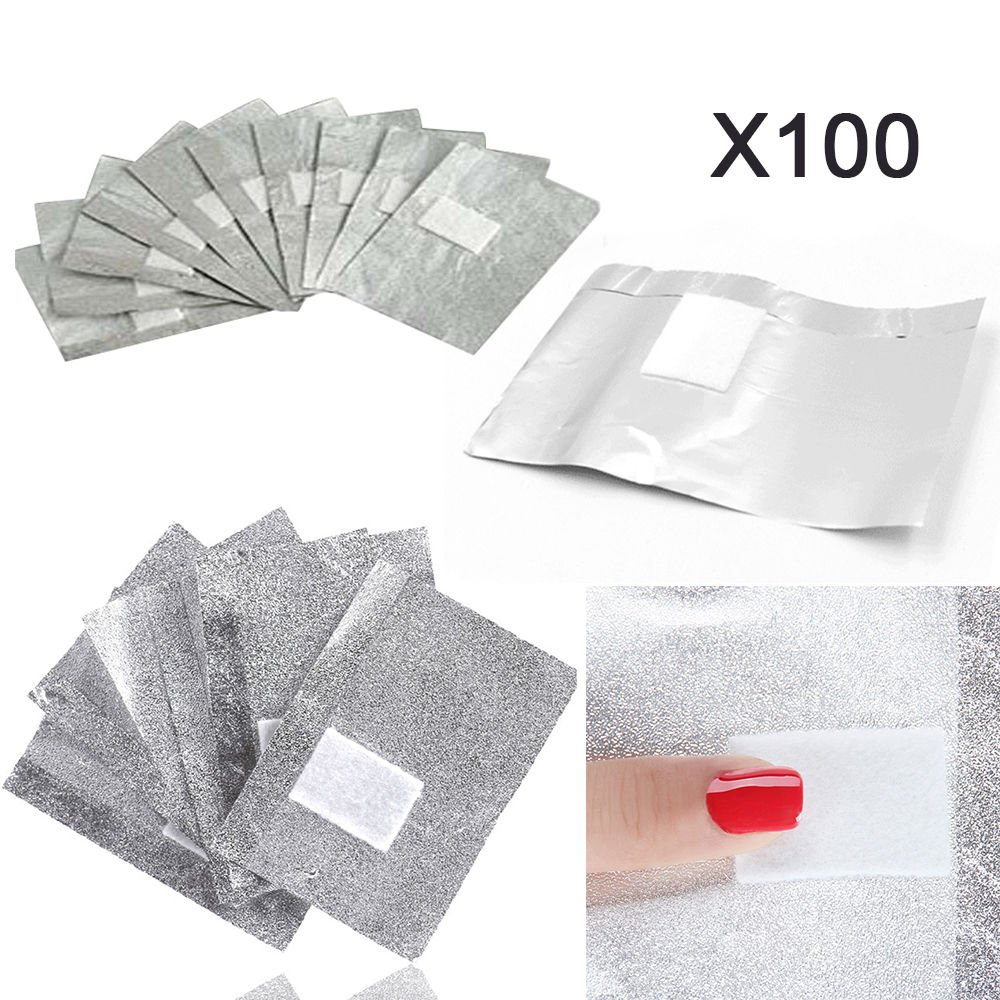 Beauty DIY Mart Aluminium Foil Nail Wraps, 100 Pcs Disposable Remover Cleaner For Nail Art Soak Off Acrylic UV Gel Removing Manicure Tool Aluminium Paper with Sponge