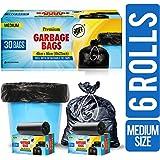 JOFF Premium Garbage Bags - Medium (48cmx56cm, 6 Rolls, 180 Bags, Black)