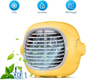 Evaporative Portable Cooler Fan Portable Air Conditioner Fan Air Cooler Personal Space Cooling Fan Mist Humidifiers Quiet Desk Fan with USB Recharged(Yellow)